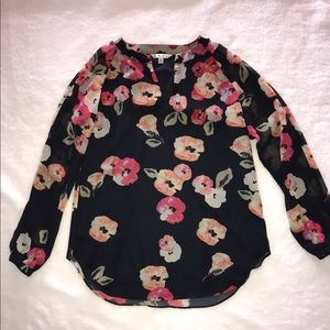 Cabi floral navy blouse sz small